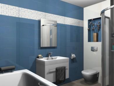 Плочки за баня Colourline White/Blue 22x66.2