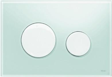 Активатор LOOP GLASS с пластмасови бутони бели и стъклен панел от млечно зелено стъкло