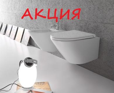 АКЦИЯ окачена тоалетна FORTY3 БЕЗ РЪБ в комплект със структура за вграждане TECE
